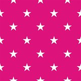 Tile vector pattern with white stars on pink background