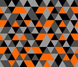 Tile vector background with orange, black and grey triangle geometric mosaic