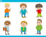 kid boys characters cartoon set