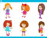 kid girls characters cartoon set