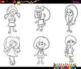 kid girls set coloring book