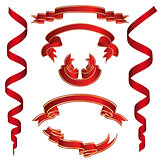 Set of Red Ribbons With Golden Stripes