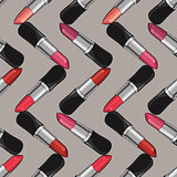 Seamless pattern with lipsticks.  Vector illustration.