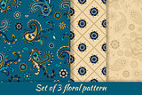 Set of 3 floral seamless pattern