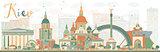Abstract Kiev skyline with color landmarks.