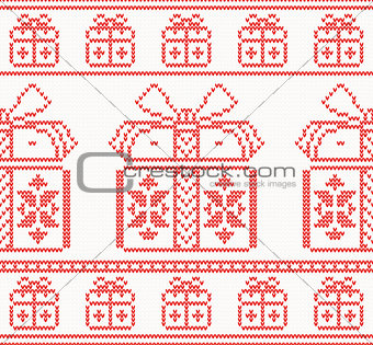 Knitted pattern with gift boxes. Vector illustration.