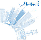 Outline Montreal skyline with blue buildings and copy space.