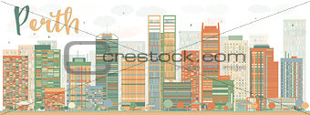 Abstract Perth skyline with Color buildings