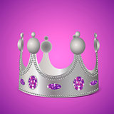 Silver crown with gems