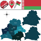 Map of Belarus with named regions