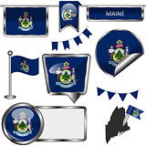 Glossy icons with flag of state Maine