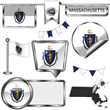 Glossy icons with flag of state Massachusetts