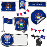 Glossy icons with flag of state Michigan