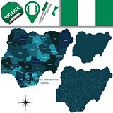Map of Nigeria with named states