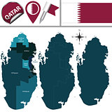 Map of Qatar with named municipalities