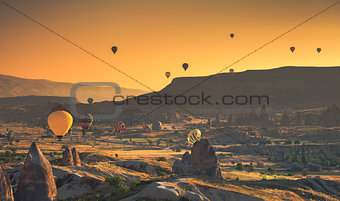 Cappadocia valley at sunrise