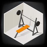 Bench press vector isometric illustration