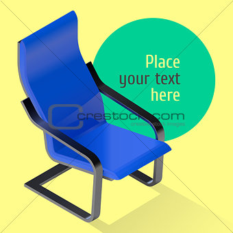 Armchair isometric illustration. Chair vector