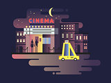 Cinema building night