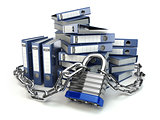 File folder and chain with lock. Data and privacy security. Info