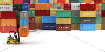 Cargo shipping containers in storage area with forklifts with sp