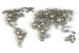 Map of the world from metallic gears. Global economy connections