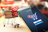 Online shopping concept nackground. Mobile phone or smartphone w