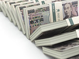 Row of japanese yen pack money  on white background. 3d