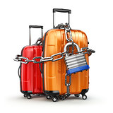 Luggage with chain and lock. Security and safety of baggage or e