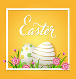 Easter card with eggs and pink flowers