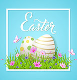 Easter card with eggs and cosmos flowers