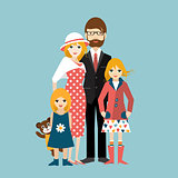 Family with two little daughter. Man and woman in love, relationship. Flat vector.