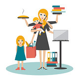 Multitask woman. Mother, businesswoman with baby, older child, working, coocking and calling.