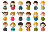 Big set of different avatars of children. Boys and girls on a white background. Minimalistic flat modern icon set portraits. Vector illustration
