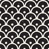 Vector Seamless Black And White Hand Painted Line Geometric Circular Oriental Grungy Pattern