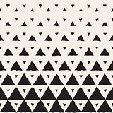 Vector Seamless Black And White Hand Painted Line Geometric Triangles Halftone Gradient Pattern
