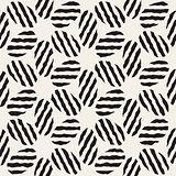 Vector Seamless Black And White Hand Painted Line Geometric Ellipse Stripes Pattern