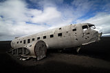 Airplane wreck on a black beach in south of Iceland