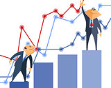 Two businessmen a graphs