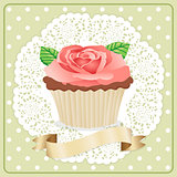 Label Rose Flower Cupcake