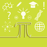 Vector set of flat line of science infographic. Inspiration, idea and discovery theme. Pi symbol concept.