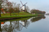 Windmill and canal in Bruges, Belgium