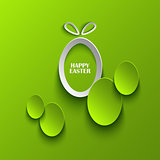 Easter card with abstract eggs on green background