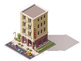 Vector isometric hotel building
