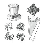 Set of Saint Patricks Day hand drawn design elements.