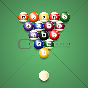 Top view of a set of pool balls on a green table