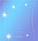 Blue background with glowing dots and stars