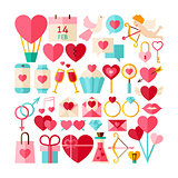 Big Flat Style Vector Collection of Valentine Day Objects