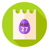 Easter Calendar Poster with Egg Circle Icon