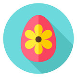Easter Egg with Big Flower Decor Circle